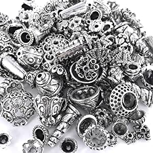 Incredible art 300-Piece Bali Style Jewelry Making Metal Bead Caps Deluxe New Mix, Silver