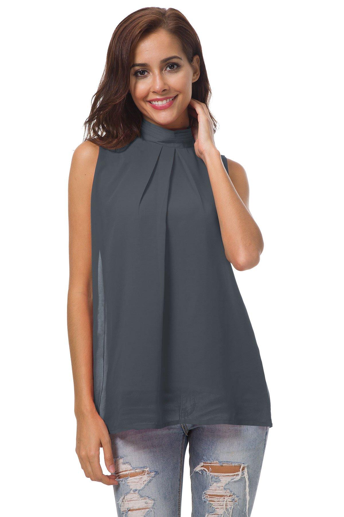 SRYSHKR Summer Chiffon Sleeveless Shirt Top Blouse Tank Camis Women Casual Double Layer Pleated Female (L, Dark Grey)