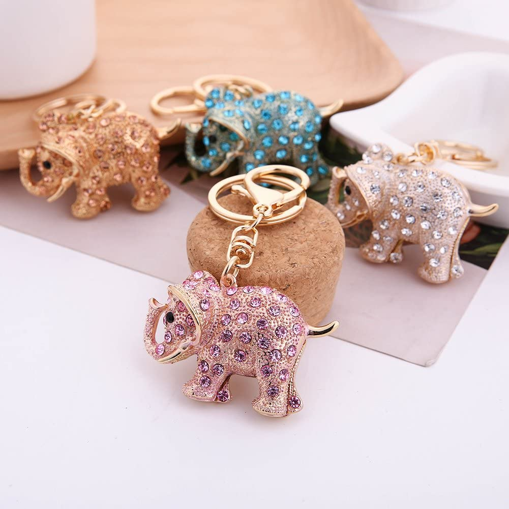 Acamifashion Lovely Elephant Animal Pendant Key Chain Rhinestone Key Ring Bag Car Decor
