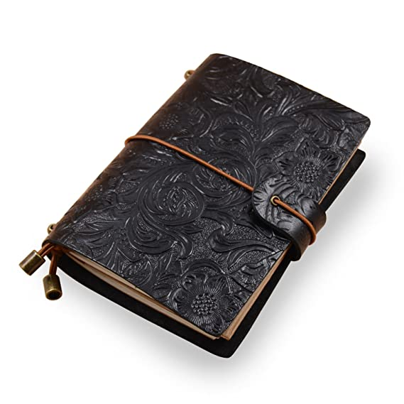 Molonbutterfly Leather Journal, Handmade Refillable Travelers Notebook as Daily Diary or Life Planner for Men or Women, with 3 Writing Notepads/Pocket ...