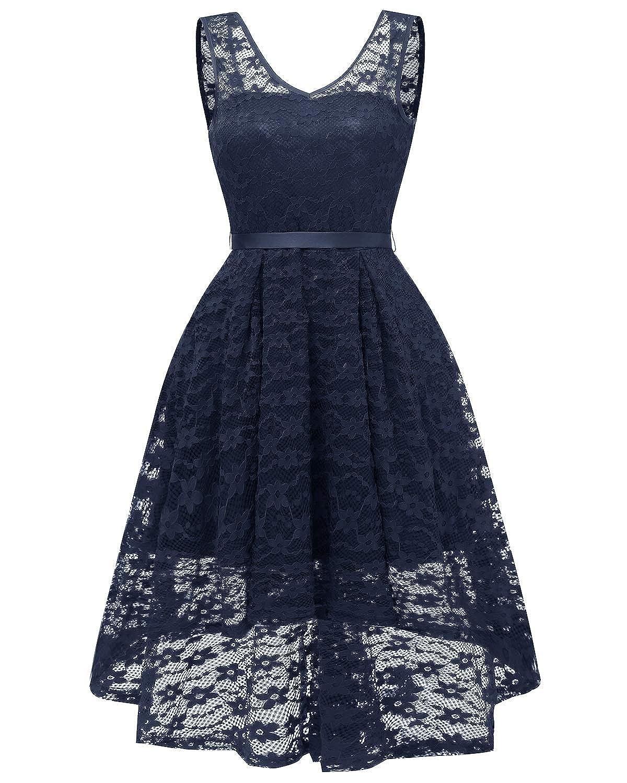 Navy bluee Zooka Summer Women Midi Dress Print Sleeveless Ladies Lace Dresses Vintage Party