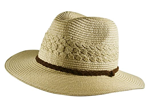Itzu Men s Summer Wide Brim Sun Cowboy Paper Straw Hat Rope Band in Beige  (58 da8b93760077