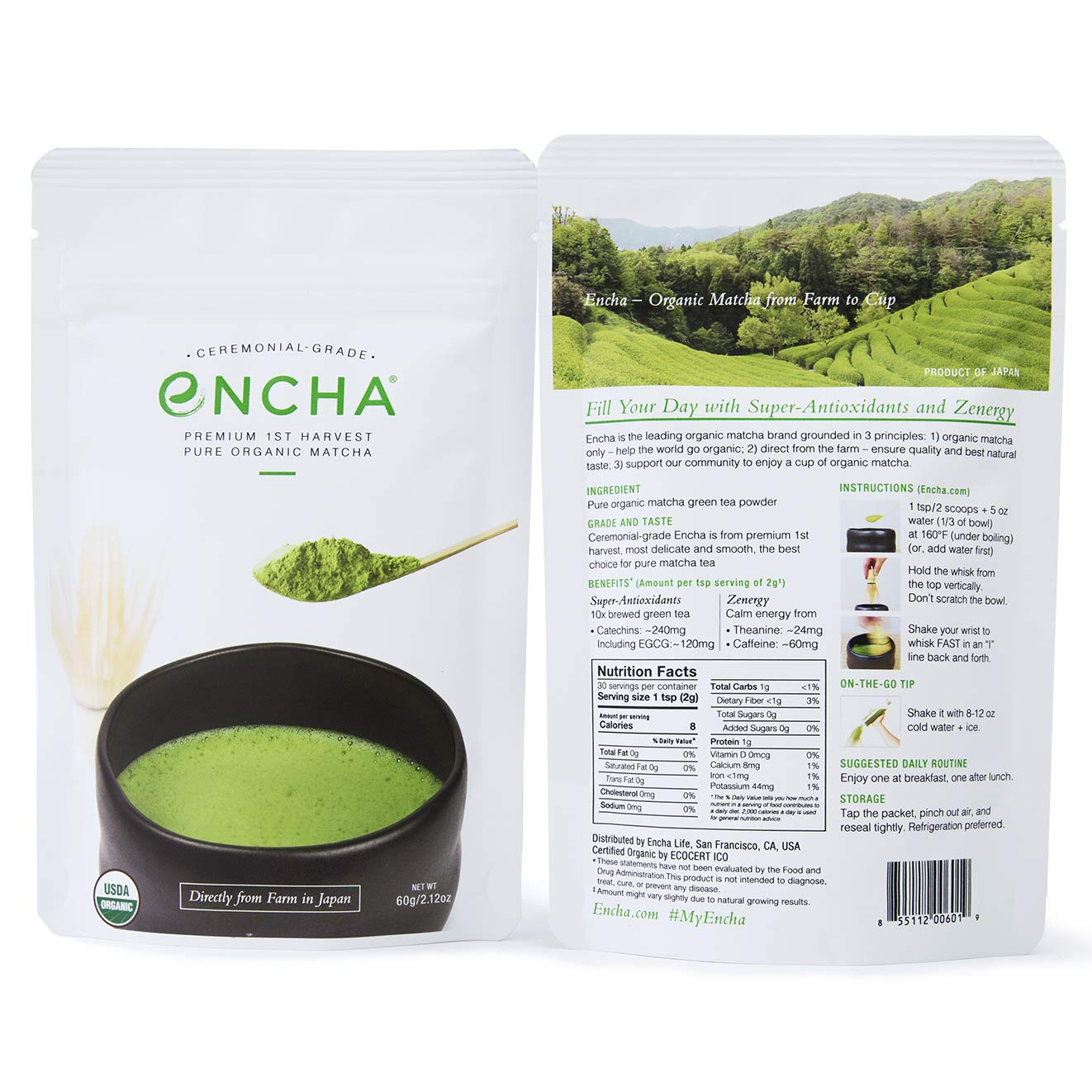 Encha Ceremonial Organic Matcha (USDA Organic Certificate and Antioxidant Content Listed, Premium First Harvest Directly from Farm in Uji, Japan, 60g/2.12oz in Resealable Pouch) by Encha (Image #2)