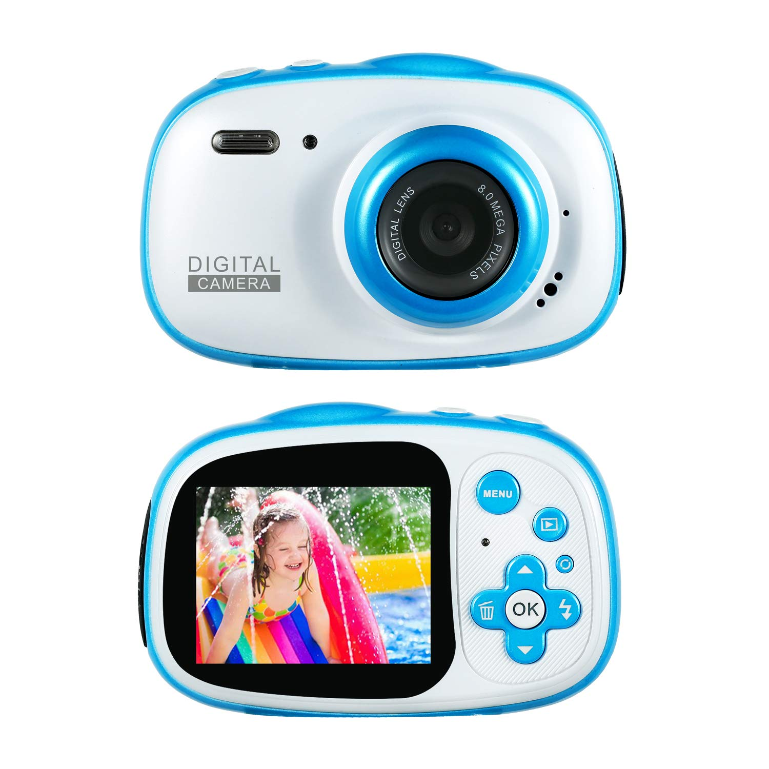 Kids Waterproof Camera Rechargeable Digital for 4-10 Year Old Children, 8MP HD Underwater Action Camera Camcorder with 2-inch LCD Display, MP3/MP4, Games, 16G Memory Card (Blue)