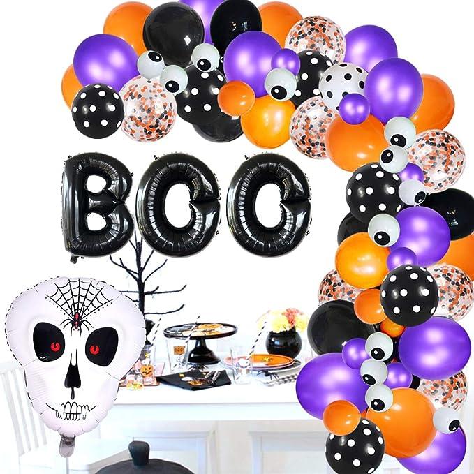 Black Orange Balloon Garland Arch Kit with Spider Skeleton Bat Pumpkin Foil Balloon Totally 119PCS For Halloween Party Decoration Kwayi Halloween Balloon Garland Decoration