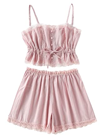 e3be4b1a81 SheIn Women's Lace Cami and Shorts Pajamas Set Sleepwear Nightwear Medium  Pink: Amazon.in: Clothing & Accessories