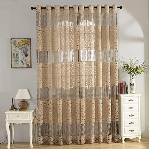 ChezMax Jacquard Weave Pattern Grommet Window Treatments Sheer Drapes and Curtains 52″ W x 84″ L Coffee 2 Panels
