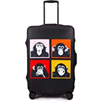 Periea Premium 3mm Elasticated Suitcase Luggage Cover - 38 Different Designs - Small, Medium or Large (Monkey, Small)