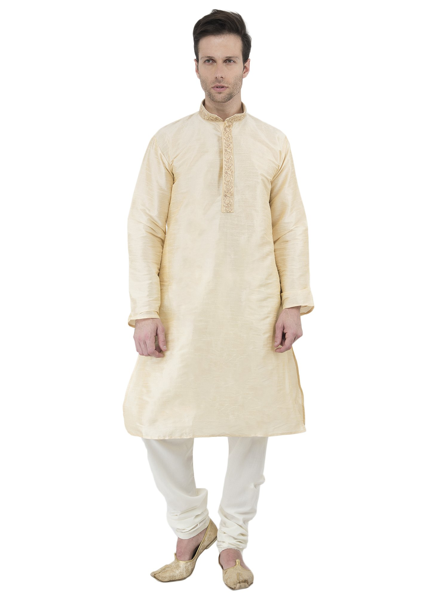 Indian Kurta Pajama Men Long Sleeve Button Down Shirt Pyjama Set Ethnic Wear Wedding Outfit -M