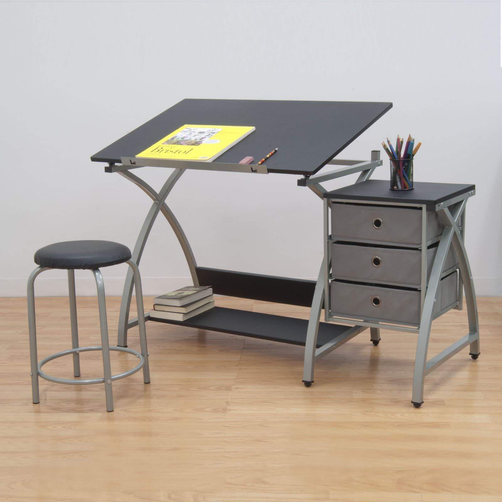 Studio Designs Laminate Craft Table Comet Center with Stool, Black (2 Pack) by STUDIO DESIGNS INSPIRING CREATIVITY WWW.STUDIODESIGNS.COM (Image #3)