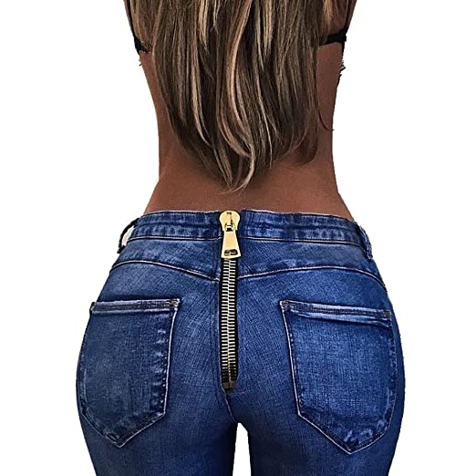 ef16426bda25 Amazon.com  Alixyz Women Sexy Denim Pants Elastic Stretched Trousers High  Waist Back Zipper Jeans  Clothing