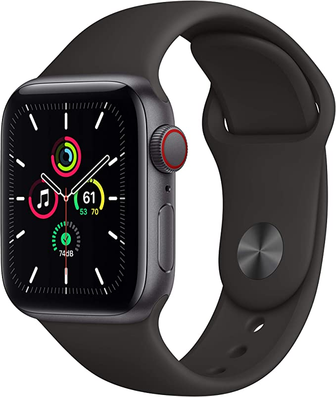 Amazon.com: New Apple Watch SE (GPS + Cellular, 40mm) - Space Gray Aluminum Case with Black Sport Band