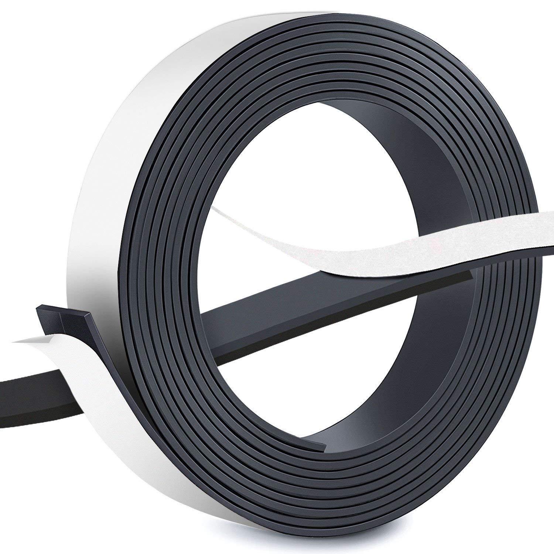 FEIGO Nastro magnetico, Adesivo strip forte magnete anisotropico 3m × 2,5cm × 2mm, Adesione per scattare foto, note o cornici in modo sicuro Adesivo strip forte magnete anisotropico 3m × 2 5cm × 2mm