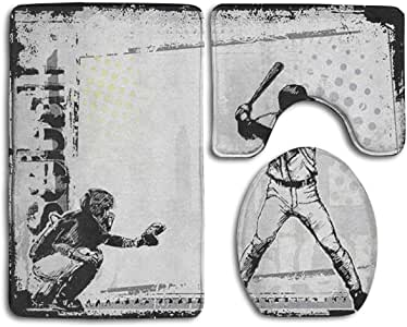 Happybeth Bathroom Rug Mats Set 3 Piece, Baseball Player ...