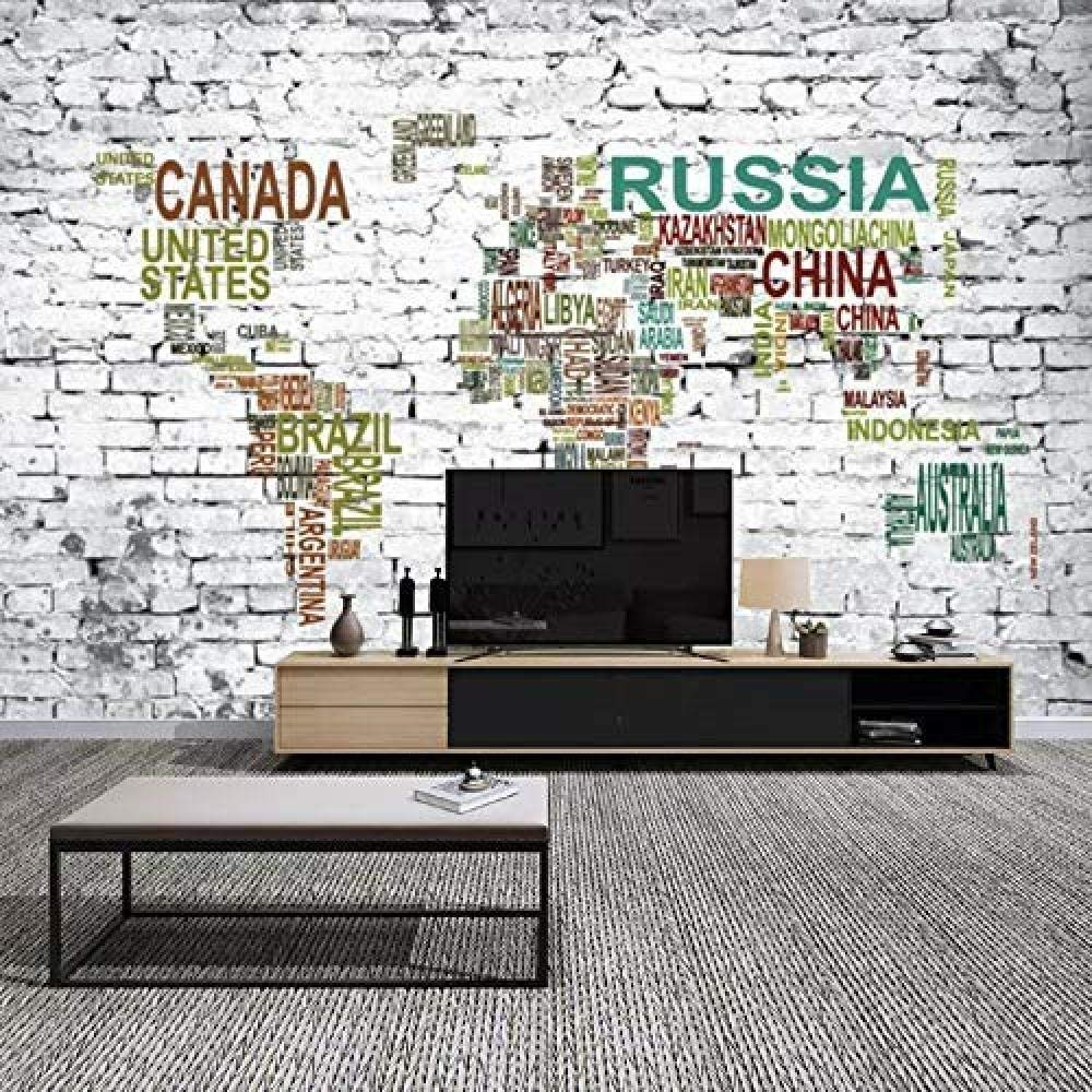 Mural en sala TV fondo ladrillo 3D color Alpha World Map ...