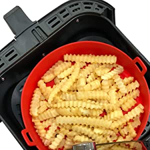 WaveLu Air Fryer Silicone Pot - [UPGRADED] Food Safe Container Air fryers Oven Accessories | Replacement of Flammable Parchment Liner Paper | No More Harsh Cleaning Basket After Using Airfryer