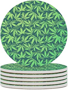 Coasters for Drinks Absorbent with Cork Base 6 Pieces Round Ceramic Stone Coaster -cannabis-hemp-420-marijuana-pattern-philipp-rietz Pattern Table Coasters for Coffee Mug