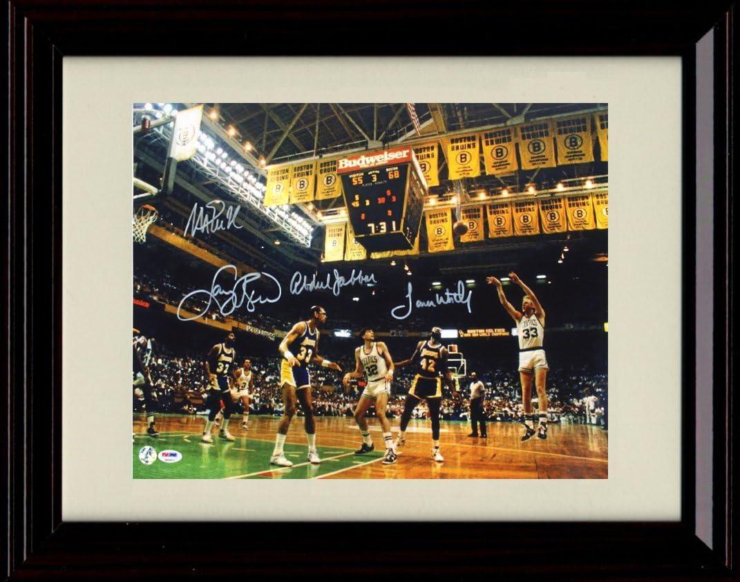 Framed Lakers vs Celtics Classic Game Autograph Replica Print - Boston Garden