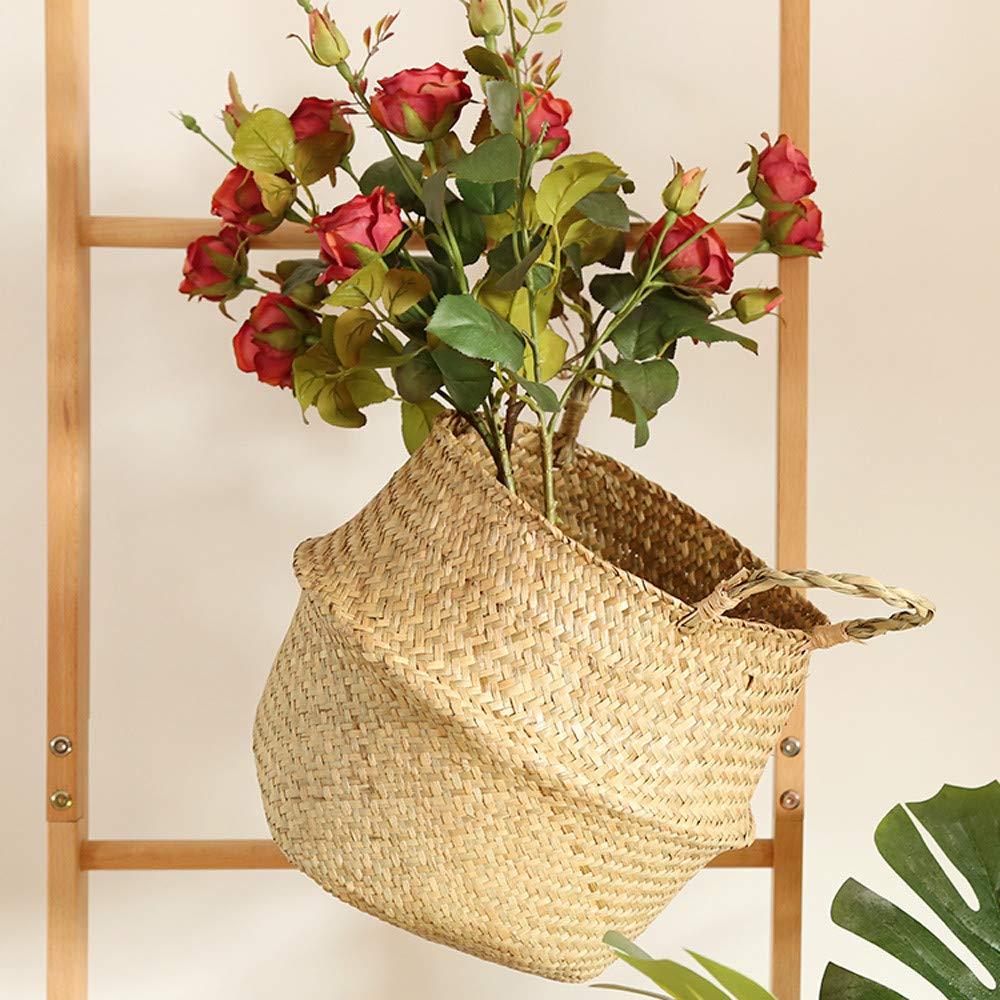 Faltbarer Strohkorb mit Griff f/ür die Aufbewahrung von W/äsche Fuibo Handgewebt Blumenkorb Blau Pflanzen und Blumen| Picknick Strandtasche| Blumen Stroh Korb Spielzeug