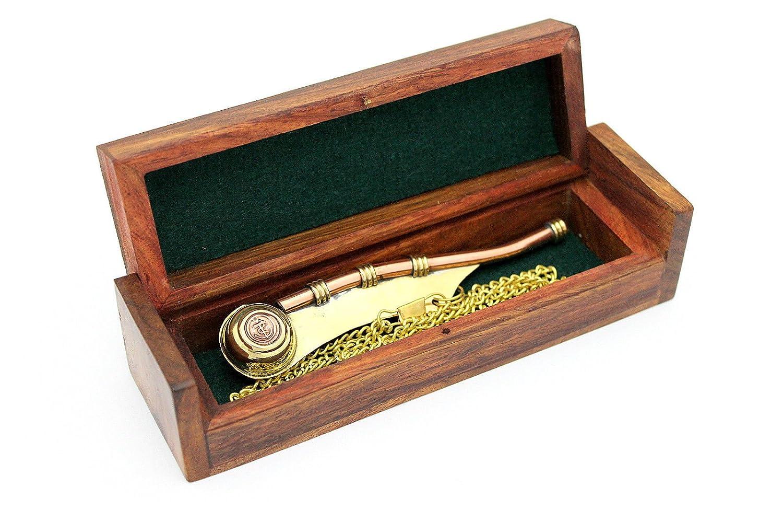 Bosun's pipe - Boatswain's Whistle Copper & Brass with chain and wooden BOX casanova nauticals
