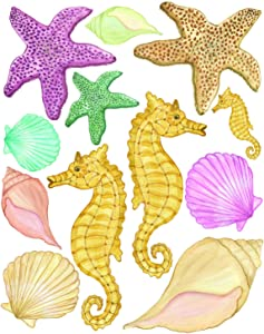 Create-A-Mural Sea Shells Wall Stickers, Beach Bathroom Decor Decals, Seashell Window Clings Star Fish & Sea Horse Ocean Removable Peel and Stick