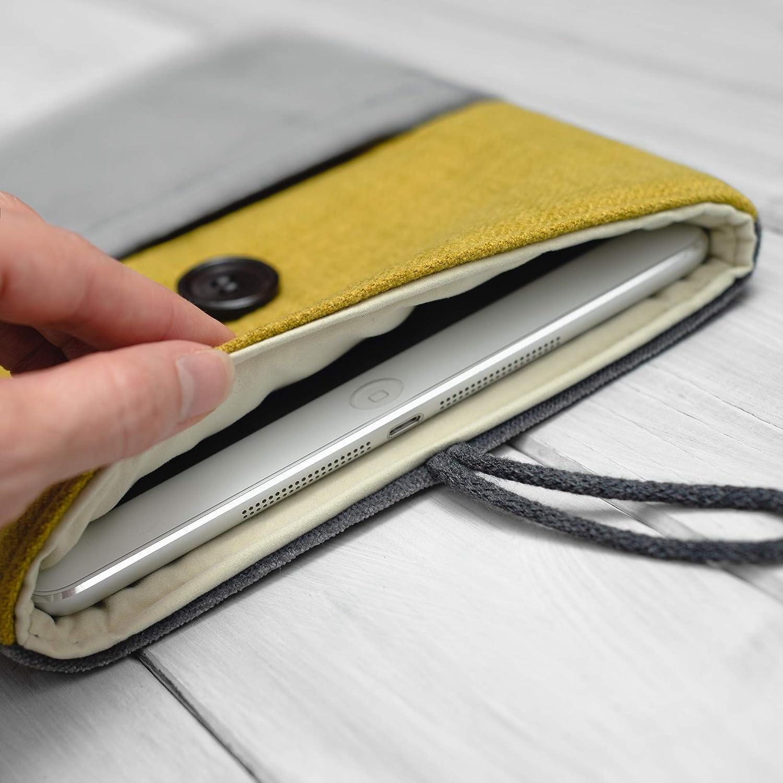 HOUSSE/étui/pochette pour tablette/iPad Pro 9.7 10.5 11 12.5 2018 Mini and Air/Gris et jaune-vert/Rembourré