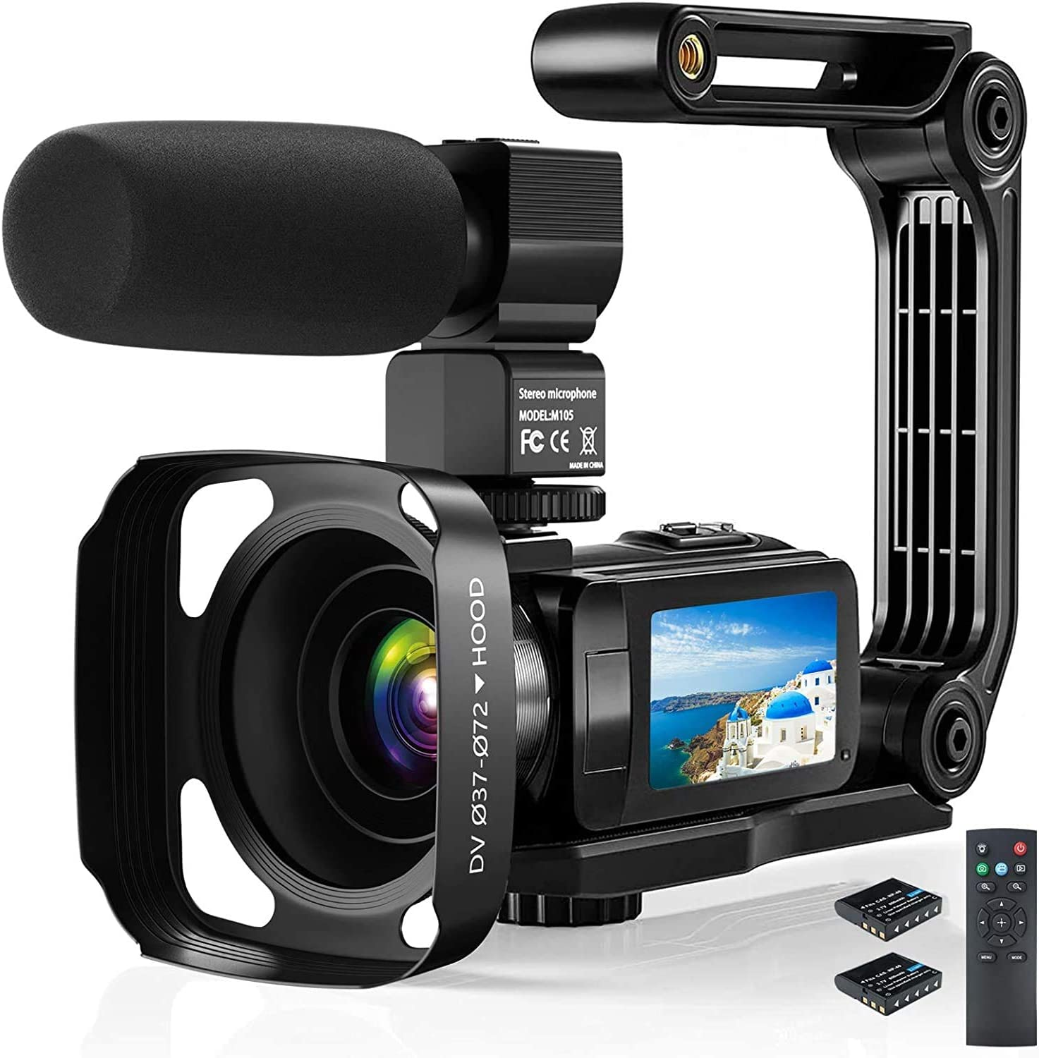 "Video Camera Camcorder, 2.7K Ultra HD YouTube Vlogging Camera, 36MP IR Night Vision Digital, 3.0"" IPS Touch Screen,16X Digital Zoom Video Camcorder with Microphone Handheld Stabilizer Remote Control"