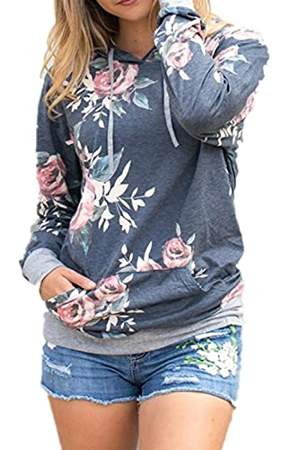 La Mujer Elegante Floral Print Hoodie Patchwork Camiseta Manga Larga Blusas Tops, Sudaderas