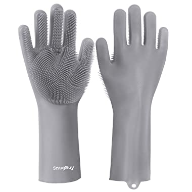 SnugBuy Silicone Dishwashing Gloves with Scrubber, Magic Saksak Gloves for Kitchen and Household Cleaning - Latex and BPA Free (1 Pair) … (Gray)