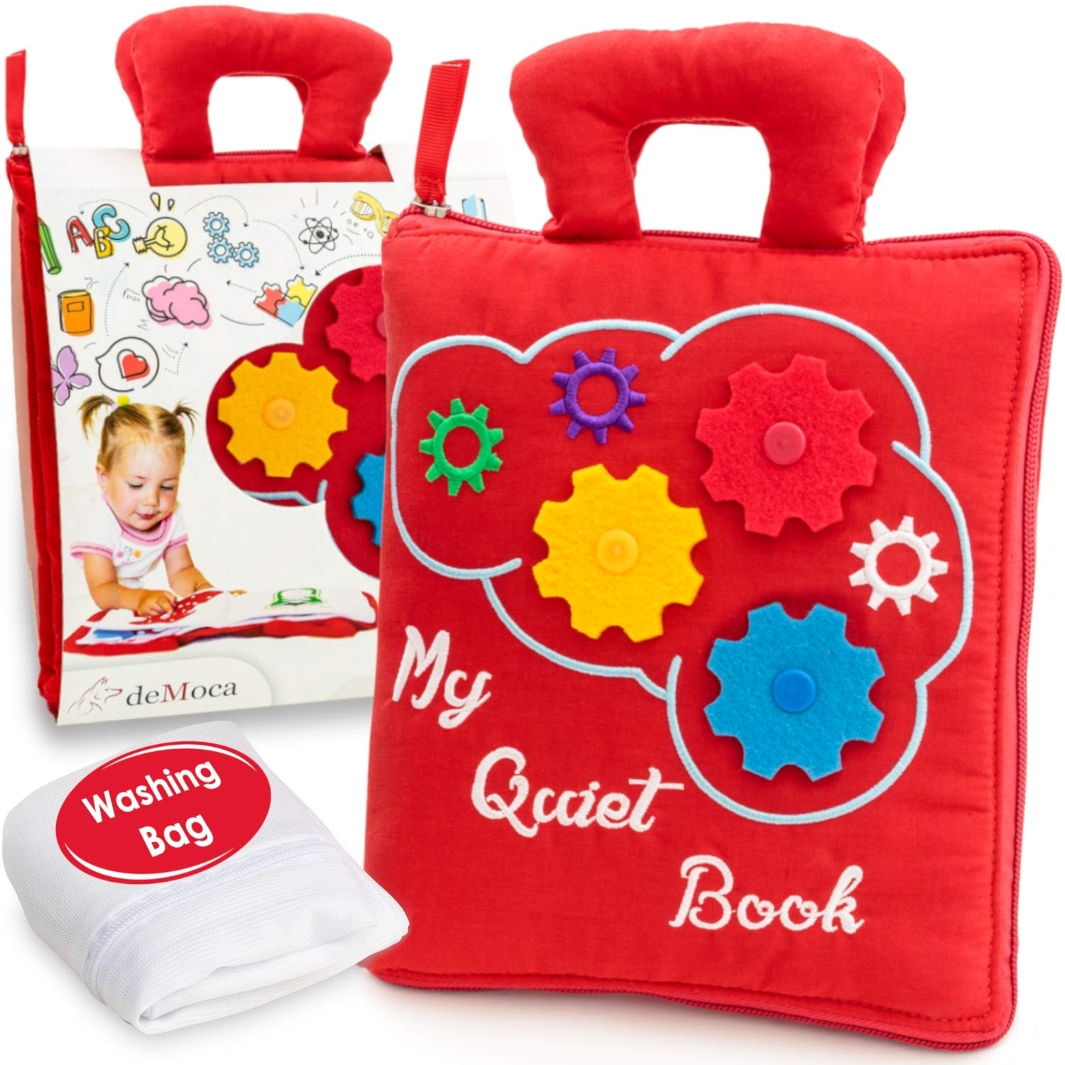 deMoca Quiet Book for Toddlers - Montessori Basic Skills Activity - Soft Travel Toy & Educational Busy Book for 2 3 4 Year Old Boys & Girls + Zipper Bag