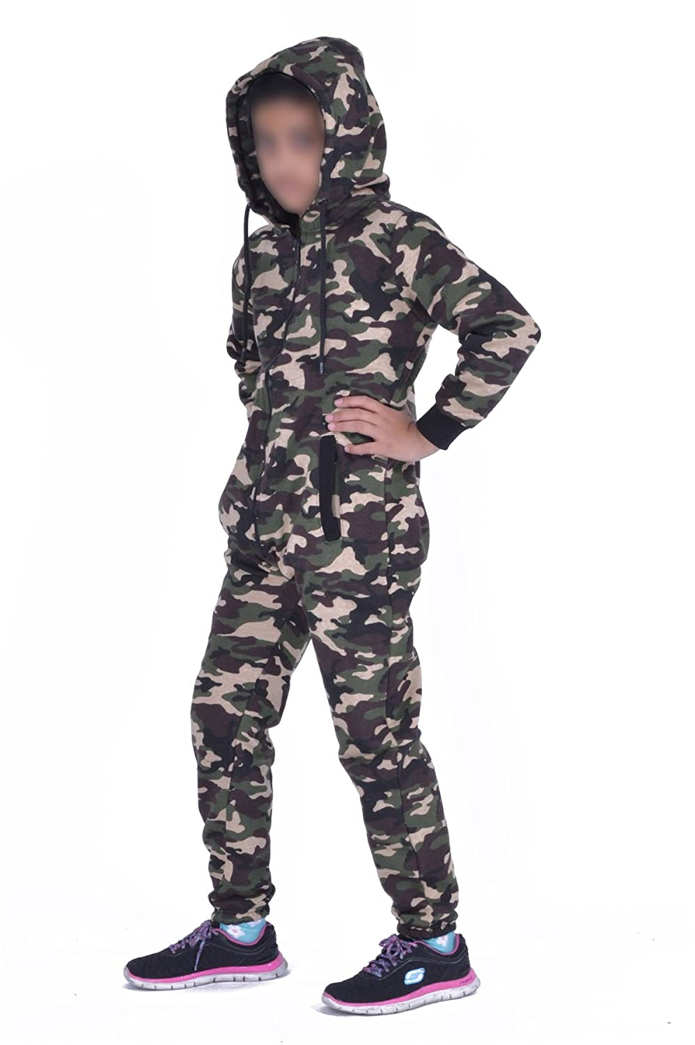 Mymixtrendz® Kids Army Camo Print Onesie Hooded Jumpsuit All in One Boys Girls Fleece Tracksuit Age 7-13 MMT