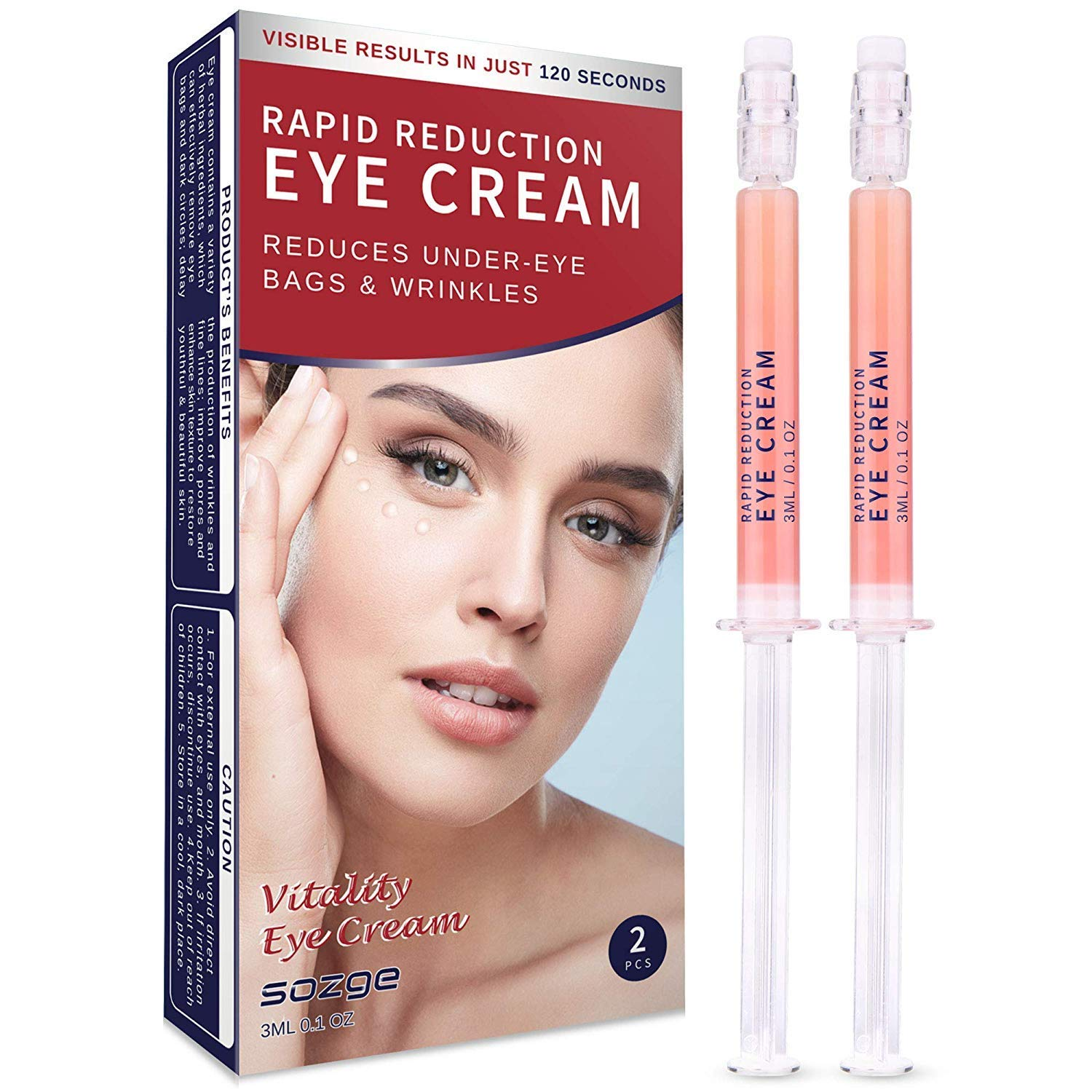 Rapid Reduction Eye Cream for Rapidly Reducing Bagginess, Puffiness, Dark Circles and Wrinkles in 120 Seconds by SOZGE 2Pcs by SOZGE