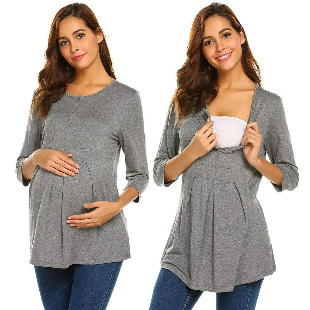 Women's Ruched Side-Shirred Nursing Top Short Long Sleeve Breastfeeding Tee Shirt (XL, Gray)