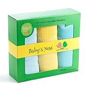 Muslin Swaddle Blanket Set, Teal/Yellow/Blue, Set of 3