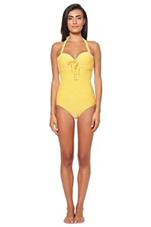 06eb9d69f0fa9 Jessica Simpson Women's Tie-Front Underwire Swimsuit Bathing Suit at Amazon Women's  Clothing store: