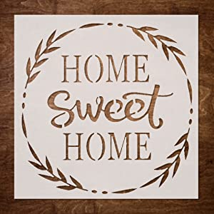 DLY LIFESTYLE Home Sweet Home Stencil for Painting on Wood - 10x10 Inch Home Sweet Home Stencil Template - Reusable Painting Stencil for Wood Signs, Walls, Canvas, Fabric & DIY Projects