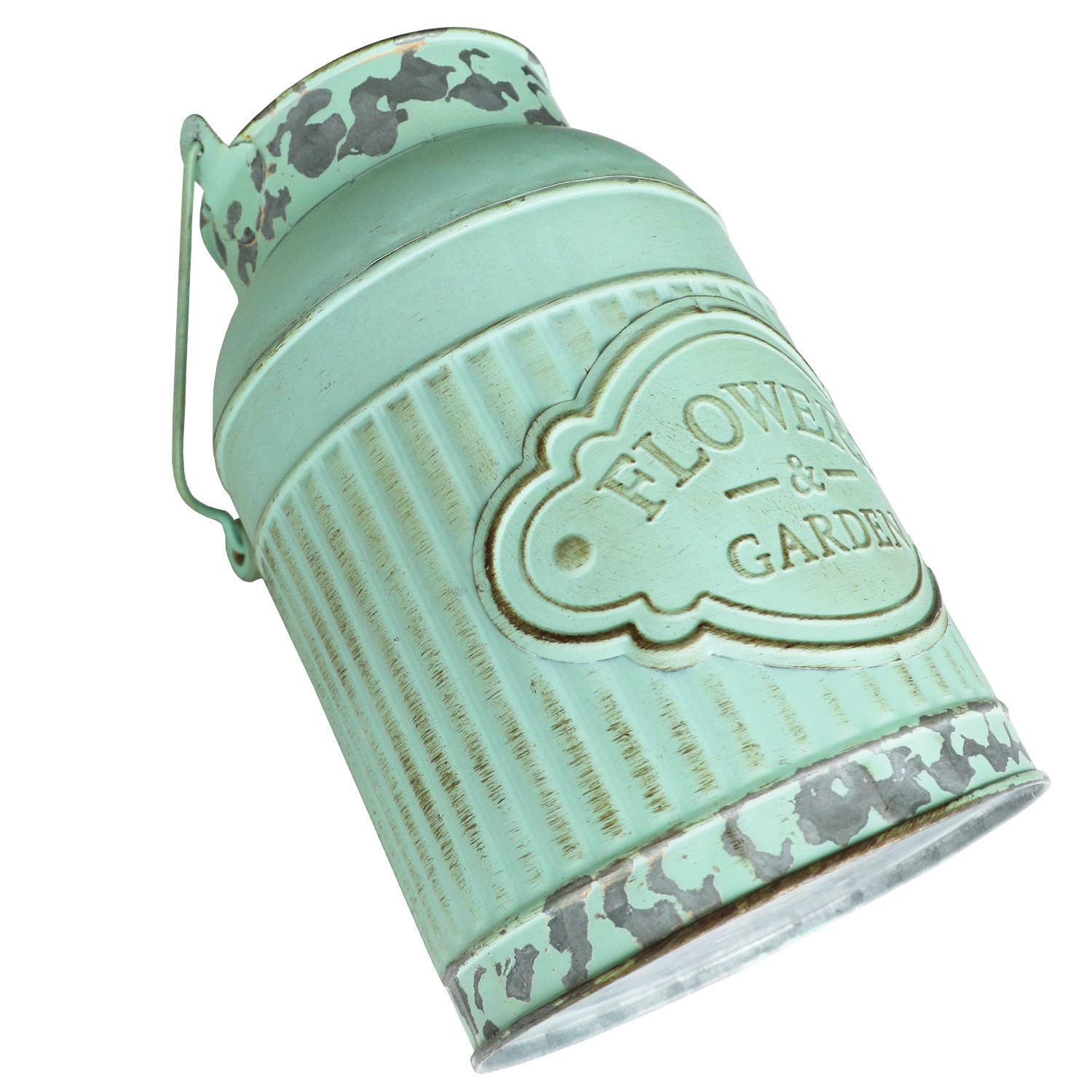HyFanStr Shabby Chic Green Painted Milk Can Style Metal Vase Flower Pitcher Jug Pot by HyFanStr (Image #3)