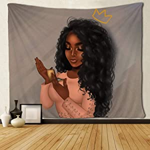 SARA NELL Black Art Tapestry Wall Tapestry Beautiful Afro African Woman African American Women with Queen Crown Make Up Wall Hanging Tapestries for Living Room Bedroom Dorm Decor 50x60 Inches