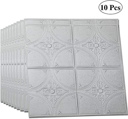Brick 10 Pack - 58 Sq Ft LEISIME 3D Wall Sticker Self-Adhesive Wall Panels Waterproof PE Foam White Wallpaper for Living Room TV Wall and Home Decor