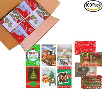 Amazon Com 100 Wholesale Traditional Christmas Cards With Envelopes