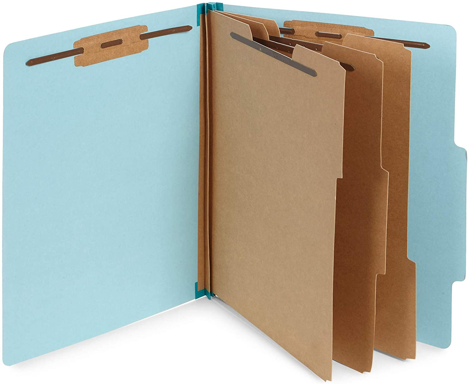 Blue Summit Supplies Light Blue Classification Folders, 3 Dividers, Letter Size with 2 Inch Tyvek Expansions, 8 Section Light Blue Classification Folder, 10 Pack
