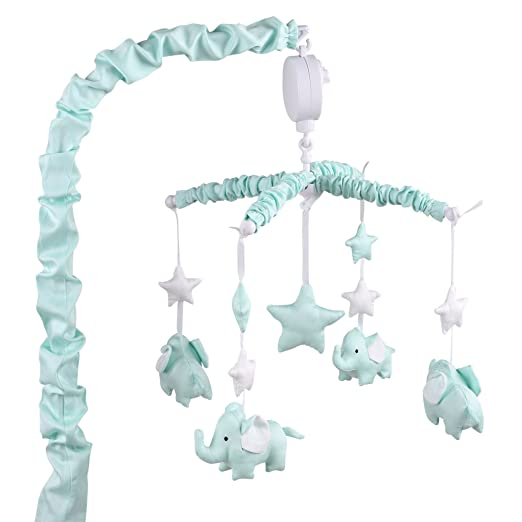 Mint Green Musical Mobile With Elephants, Clouds and Stars by The Peanut Shell