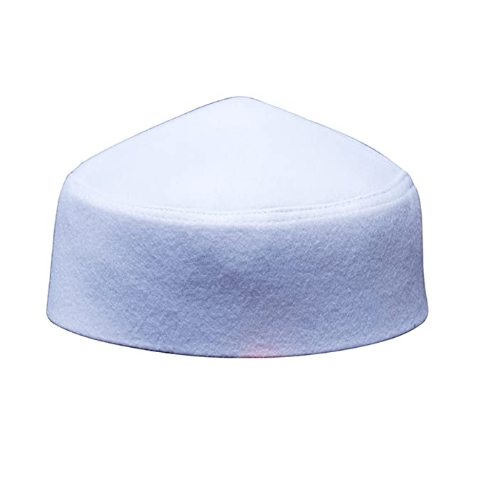 TheKufi Solid White Moroccan Fez-Style Kufi Hat Cap w Pointed Top at ... f6e66be5745c
