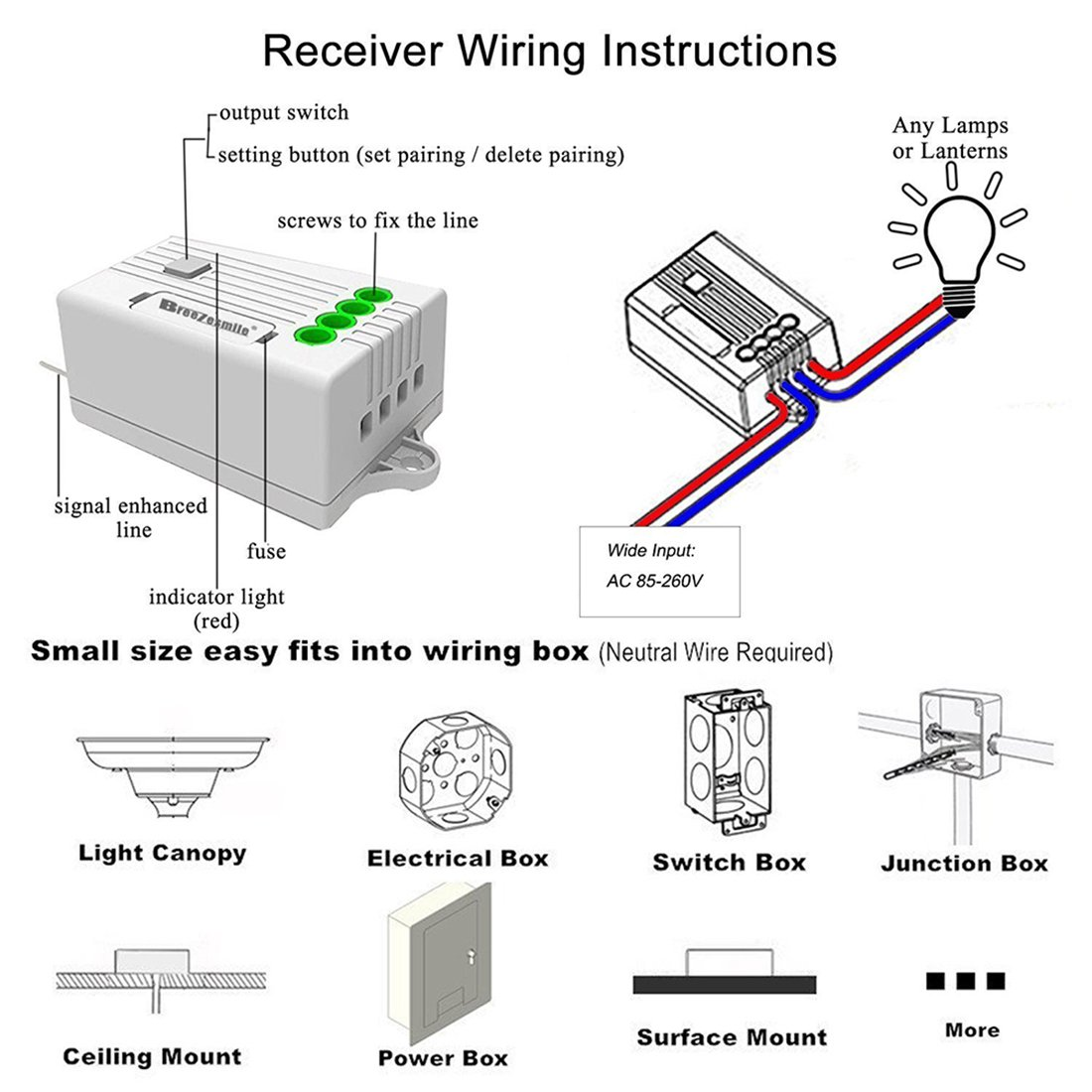 Wireless Light Switch Kit Self Powered No Wiring House Distribution Box Battery Easy Add Or Relocate For Lamps Fan Appliances Remote Control