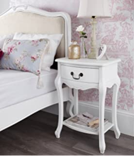Pair french style white two drawer bedside tables amazon juliette shabby chic antique white bedside table french bedside cabinet with drawer and shelf watchthetrailerfo