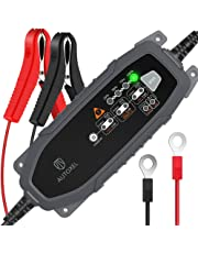AUTOXEL Chargeur de Batterie Intelligent 6V/12V 3.8A, Compensation Automatique de la Température, Mainteneur Automatique, Batteries (Wet, MF, AGM et Gel) (Noir)