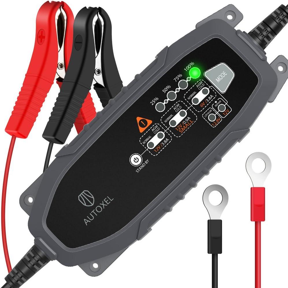 Cargador de Batería para Coche, AUTOXEL 3,8 A 6V/12V 8 Modos Inteligente Cargador/Mantenedor de Batería de Automóvil para Vehículos para LiFePO4 & Batería de Plomo ácido de Mojado, MF, VRLA, AGM y