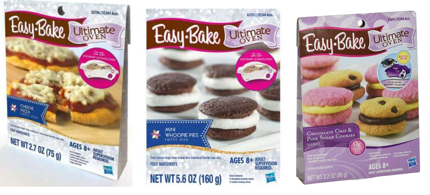 InterC Set of 3 Easy-Bake Oven Mixes Refills -Pizza, Chocolate Chip and Sugar Cookies, Whoopie Pies by InterC