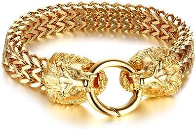 Amazon.com: Gótico Chapado en oro doble de acero inoxidable ...