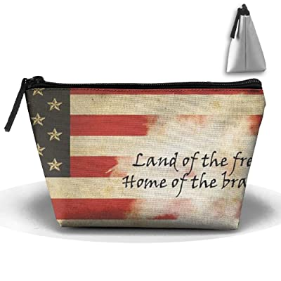 Coring American Flag Trapezoidal Bag Makeup Bag Storage Portable Travel Wash Tote Zipper Wallet Handbag Carry Case